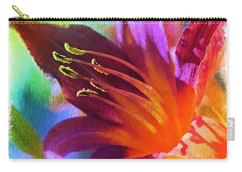 Digital Art Carry-all Pouch featuring the photograph Daylily Delight by Carol Groenen