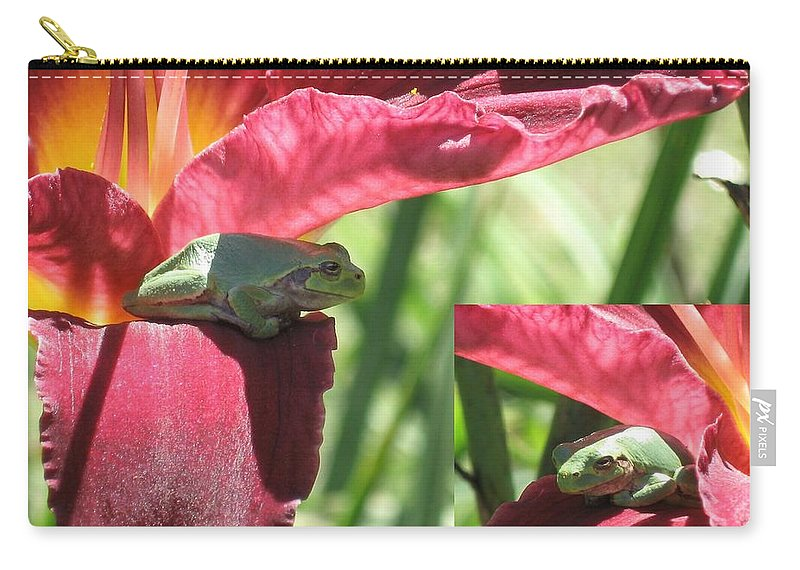 Tree Frogs Carry-all Pouch featuring the photograph Daylily Shade For A Tree Frog by Holly Eads