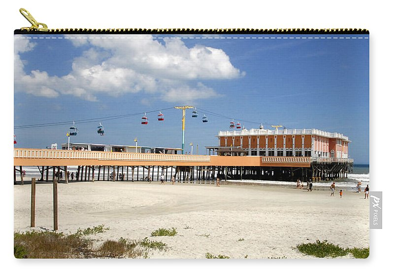 Panoramic Photography Carry-all Pouch featuring the photograph Daytona Beach Pier Pano by David Lee Thompson