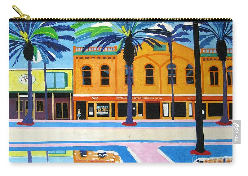 Irish Carry-all Pouch featuring the painting Mckays Irish Pub Daytona Florida by Lesley Giles