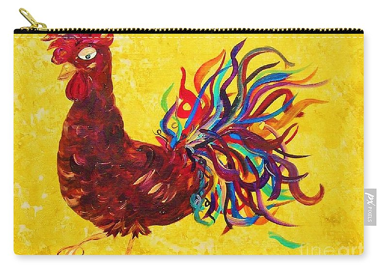 Rooster Carry-all Pouch featuring the painting De Colores Rooster by Eloise Schneider Mote