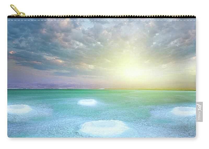 Scenics Carry-all Pouch featuring the photograph Dead Sea And Salt Little Islands by Dtokar