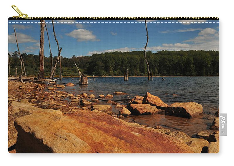 Merrill Creek Carry-all Pouch featuring the photograph Dead Trees And Rocks by Paul Ward