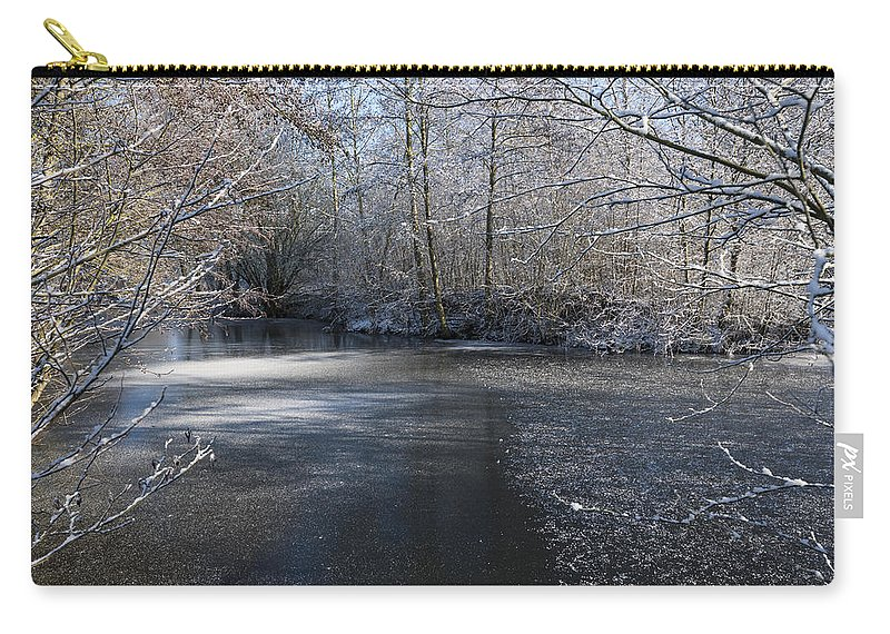 Blue Carry-all Pouch featuring the photograph December Lake by Svetlana Sewell