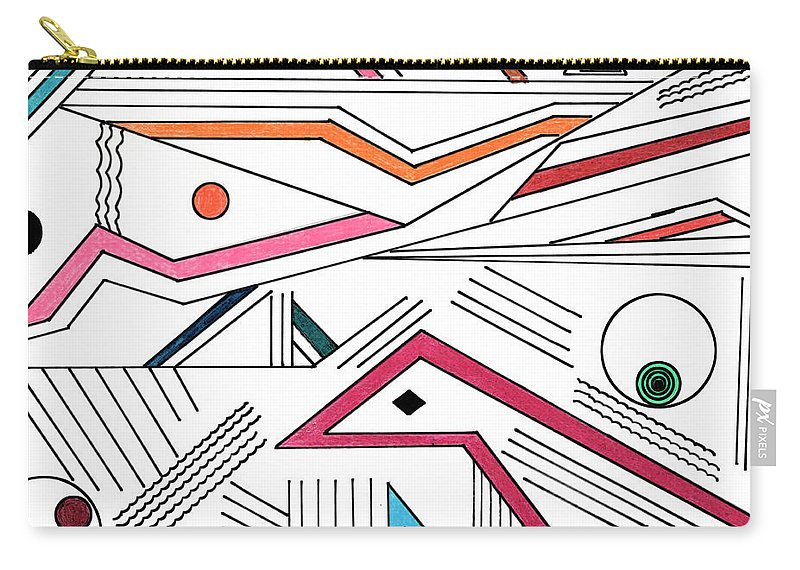 Deco Carry-all Pouch featuring the drawing Deco 9 by Mary Bedy