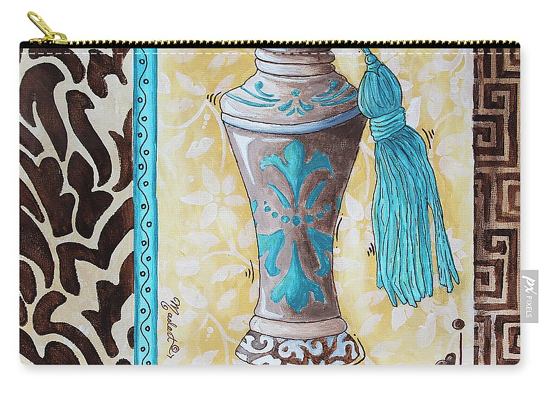 Decorative Carry-all Pouch featuring the painting Decorative Bathroom Bath Art Original Perfume Bottle Painting Luxe Perfume By Madart by Megan Duncanson