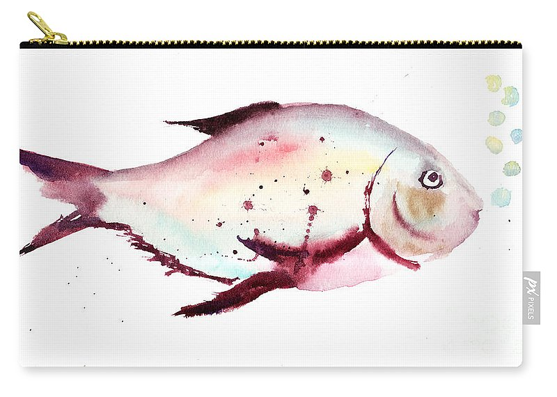 Animal Carry-all Pouch featuring the painting Decorative Fish by Regina Jershova