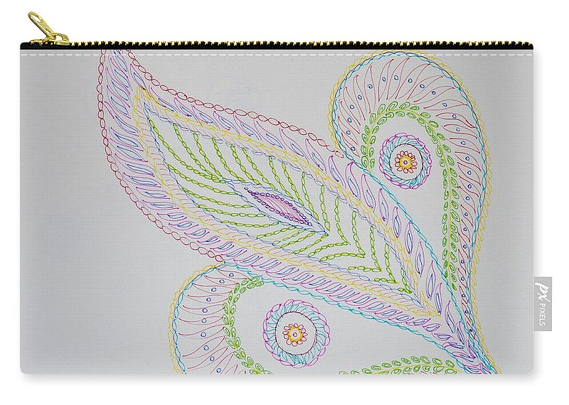 Decorative Leaf Carry-all Pouch featuring the drawing Decorative Leaf by Sonali Gangane