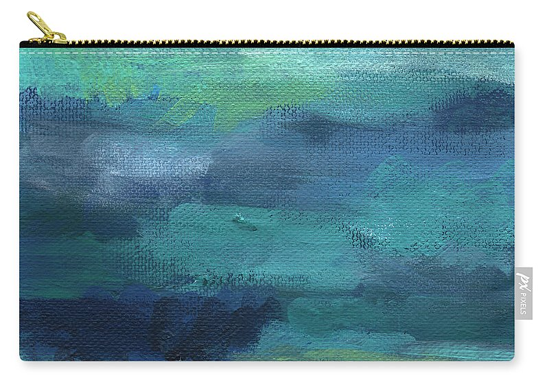 Blue Carry-all Pouch featuring the painting Tranquility- abstract painting by Linda Woods