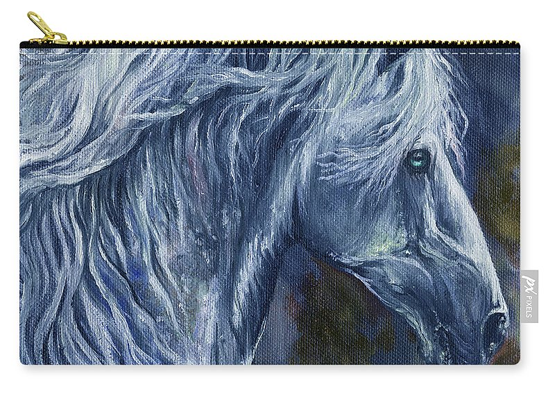 Horse Carry-all Pouch featuring the painting Deep Blue Wild Horse by Angel Ciesniarska