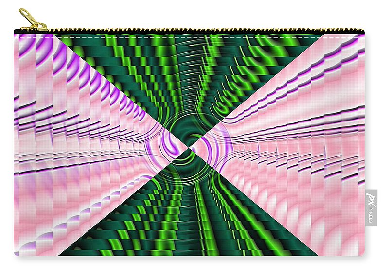 Swirl Carry-all Pouch featuring the digital art Deep Green And Pink by Ron Hedges