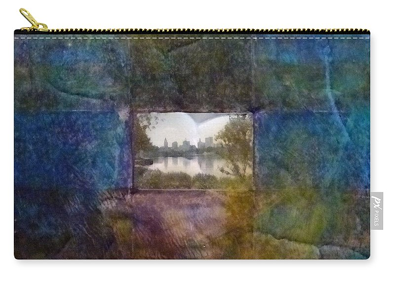 Urban Landscape Carry-all Pouch featuring the mixed media Deep Memory by Barbara Oertli