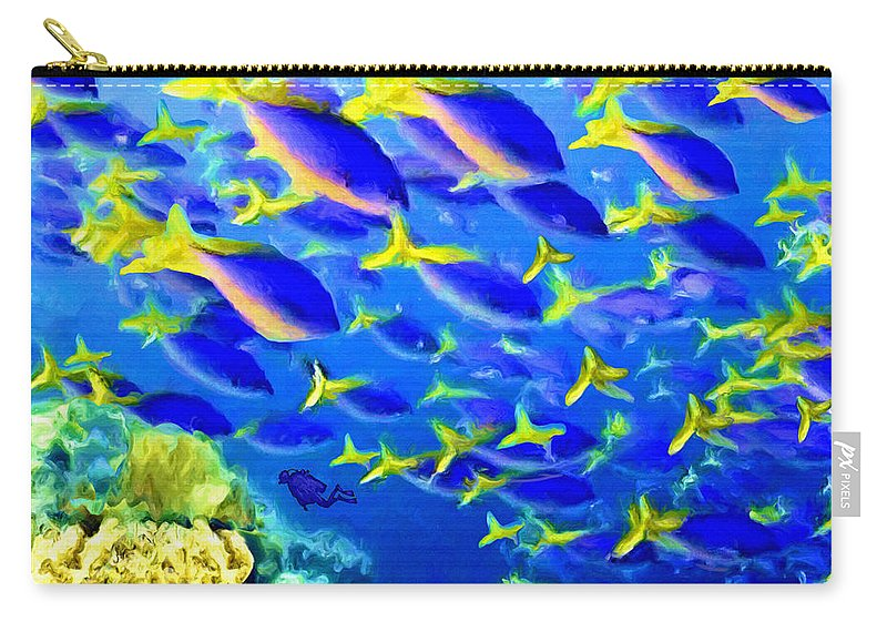 Underwater Carry-all Pouch featuring the painting Deep Sea Fish And Diver by Susanna Katherine