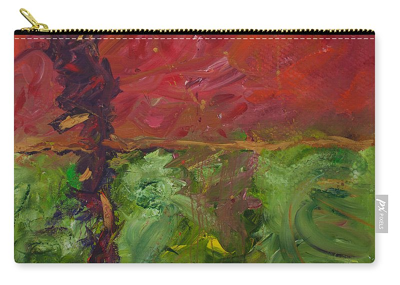 Original Art Carry-all Pouch featuring the painting Deep Set Roots by Paulette B Wright