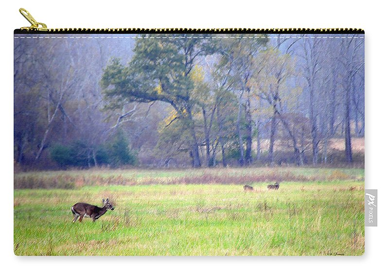 Kenny Francis Carry-all Pouch featuring the photograph Deer At Cades Cove by Kenny Francis