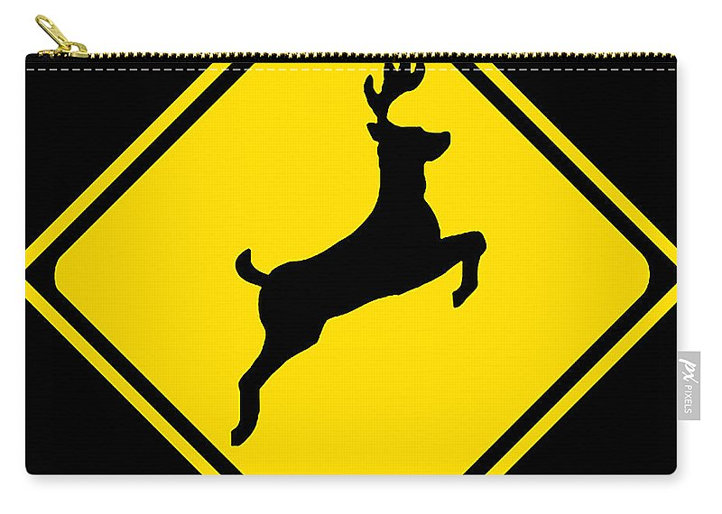 Deer Crossing Sign Carry-all Pouch featuring the digital art Deer Crossing Sign by Marvin Blaine