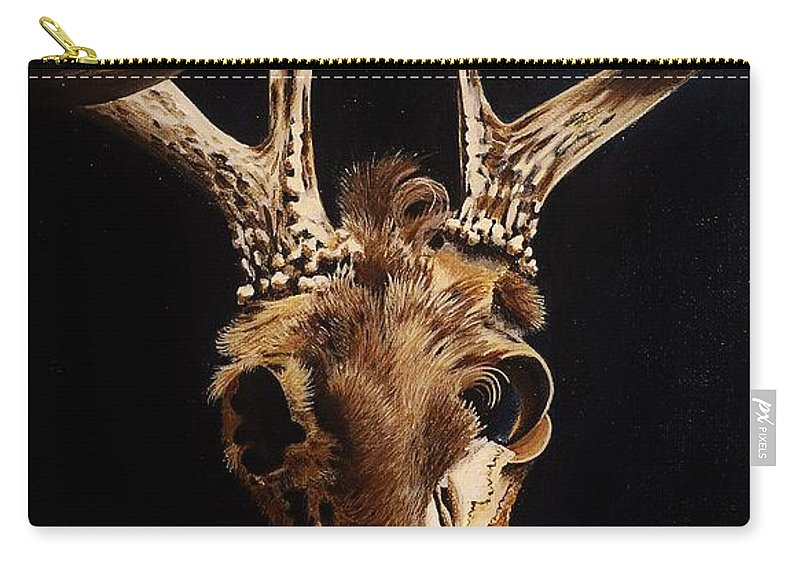 Deer Carry-all Pouch featuring the painting Deer Skull by Joy Bradley