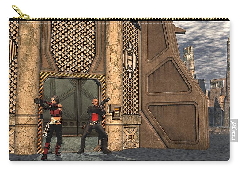 Digital Art Carry-all Pouch featuring the digital art Defending Their Outpost by Michael Wimer
