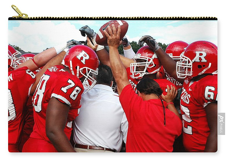Rutgers Carry-all Pouch featuring the photograph Defensive Huddle by Allen Beatty