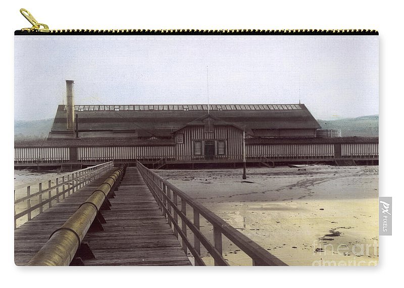 Del Monte Carry-all Pouch featuring the photograph Del Monte Bathhouse From Pier California Circa 1890 by California Views Mr Pat Hathaway Archives