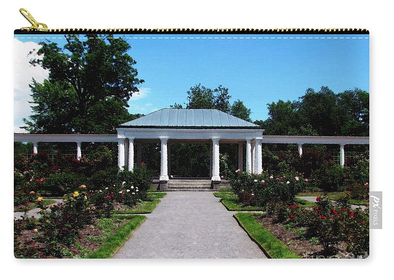 Rose Garden Carry-all Pouch featuring the photograph Delaware Park Rose Garden And Pergola Buffalo Ny Oil Painting Effect by Rose Santuci-Sofranko