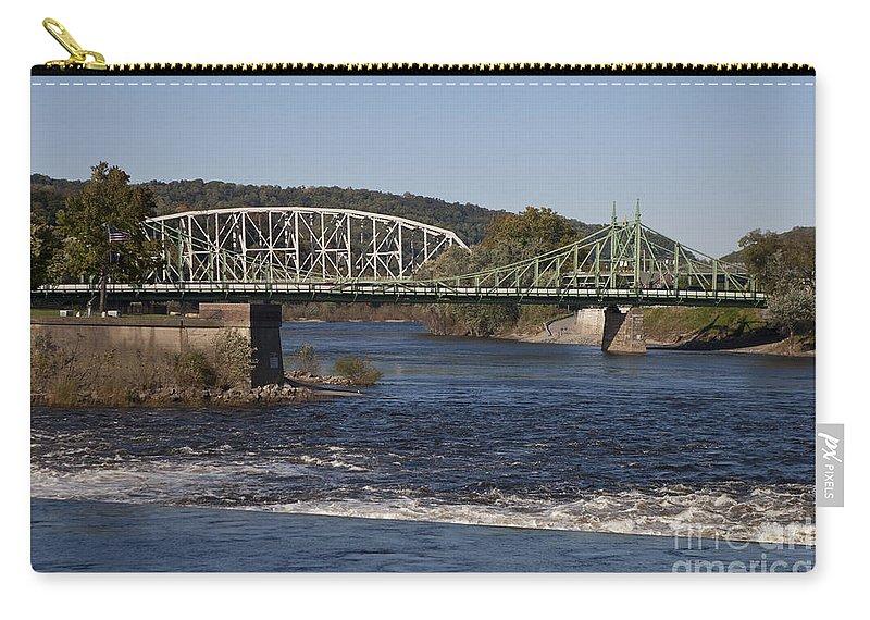 Northampton Street Bridge Carry-all Pouch featuring the photograph Delaware River Easton Pennsylvania by Jason O Watson