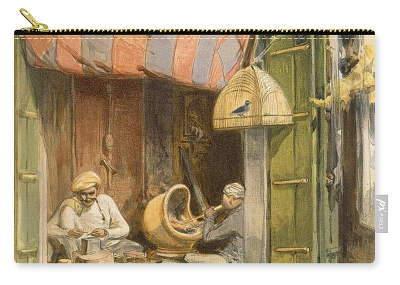 Indian Carry-all Pouch featuring the drawing Delhi - Jeweller, From India Ancient by William 'Crimea' Simpson