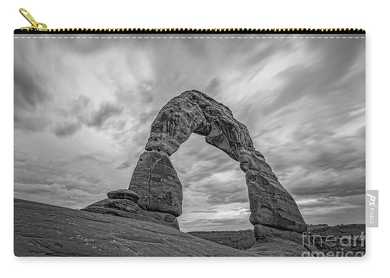 Delicate Carry-all Pouch featuring the photograph Delicate Arch Bw by Michael Ver Sprill