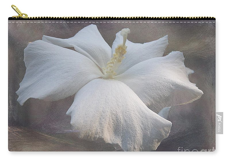 Floral Carry-all Pouch featuring the photograph Delicate Hibiscus by Kelley Freel-Ebner