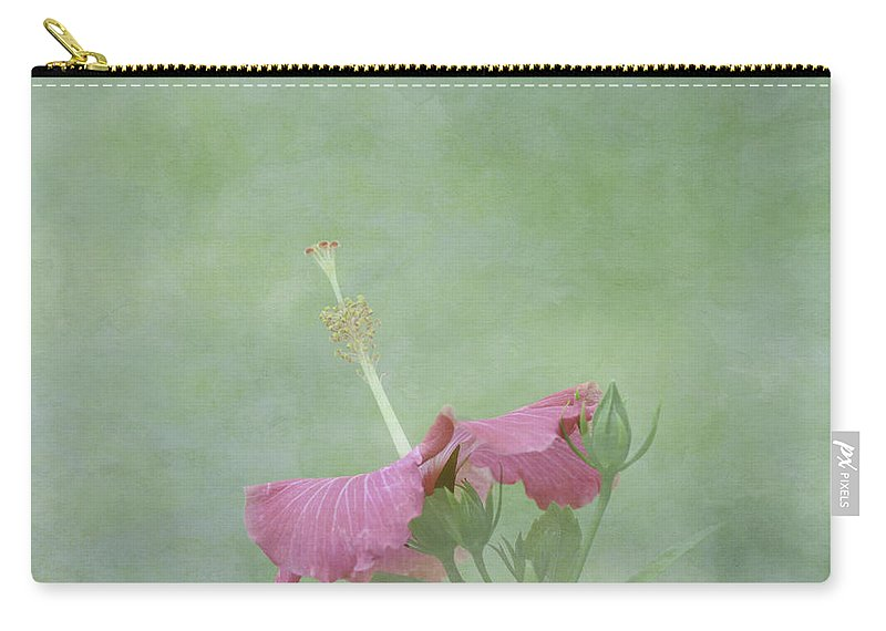 Pink Flower Carry-all Pouch featuring the photograph Delicate Pink Hibiscus Flower by Kim Hojnacki