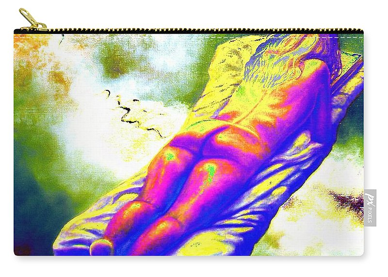 Genio Carry-all Pouch featuring the mixed media Delicious Babe Engulfed In Books by Genio GgXpress