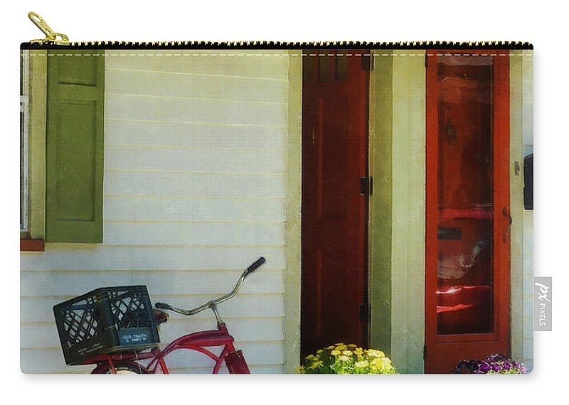 Bicycle Carry-all Pouch featuring the photograph Delivery Bicycle By Two Red Doors by Susan Savad