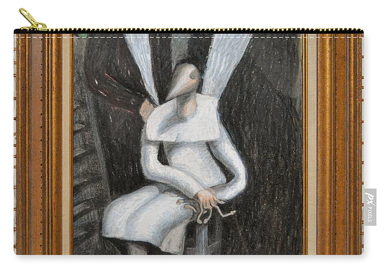 Abstract Modern Outsider Raw Folk Figure Figures Sitting Portrait White Black Dress Woman Men Suits Carry-all Pouch featuring the painting Dennice - Framed by Nancy Mauerman