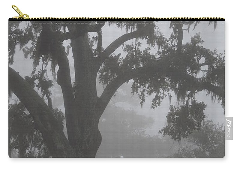 Dense Fog Carry-all Pouch featuring the photograph Dense Morning Fog In Oaks by Xyldia Grace