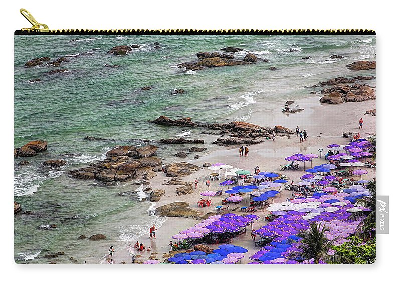 Water's Edge Carry-all Pouch featuring the photograph Densely Packed Umbrellas Hua Hin Beach by Igor Prahin