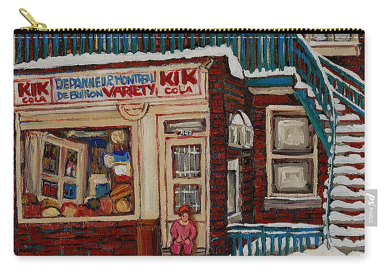 Montreal Depanneur Paintings Carry-all Pouch featuring the painting Depanneur Kik Cola Montreal by Carole Spandau