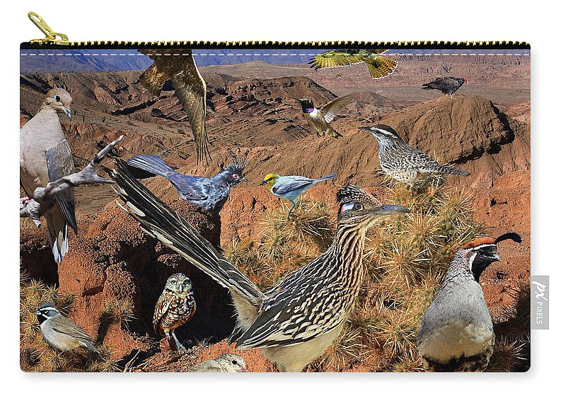 Nature Carry-all Pouch featuring the photograph Desert Bird Collage by David Salter