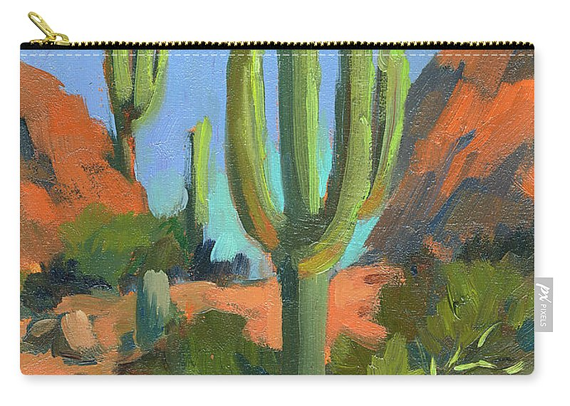 Desert Morning Carry-all Pouch featuring the painting Desert Morning Saguaro by Diane McClary