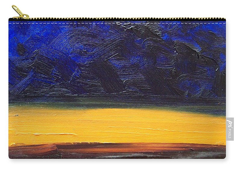 Landscape Carry-all Pouch featuring the painting Desert Plains by Sergey Bezhinets