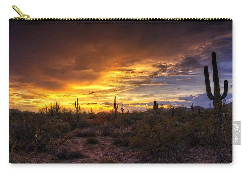 Sunset Carry-all Pouch featuring the photograph Desert Skies by Saija Lehtonen