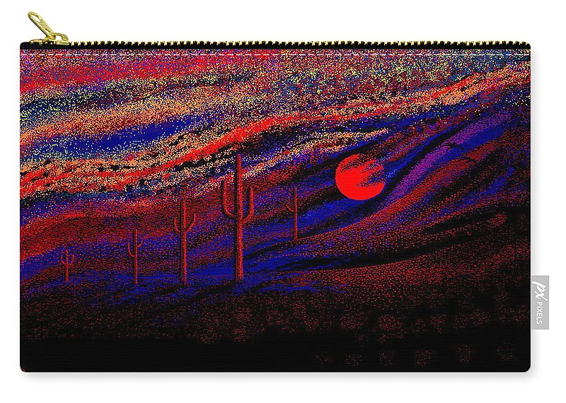Desert Sunset Quickly Sketched In Four And Half Hours.... Carry-all Pouch featuring the digital art Desert Sunset by Larry Lehman