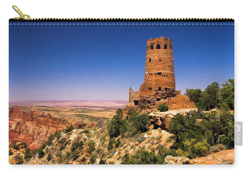Grand Canyon Carry-all Pouch featuring the painting Desert View Watchtower by Christopher Arndt
