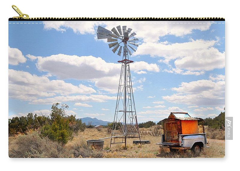 Landscape Carry-all Pouch featuring the photograph Desert Windmill by Diana Angstadt