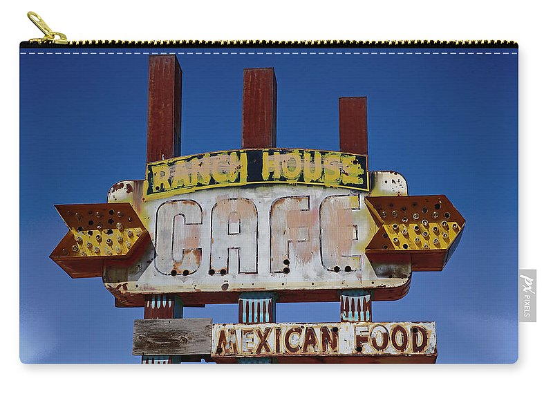 Deserted Carry-all Pouch featuring the photograph Deserted Cafe by Lynn Sprowl