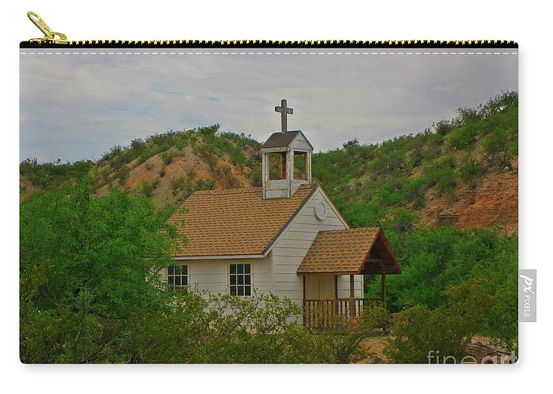 Old West Church In The Desert Carry-all Pouch featuring the photograph Deserted Church by John Malone
