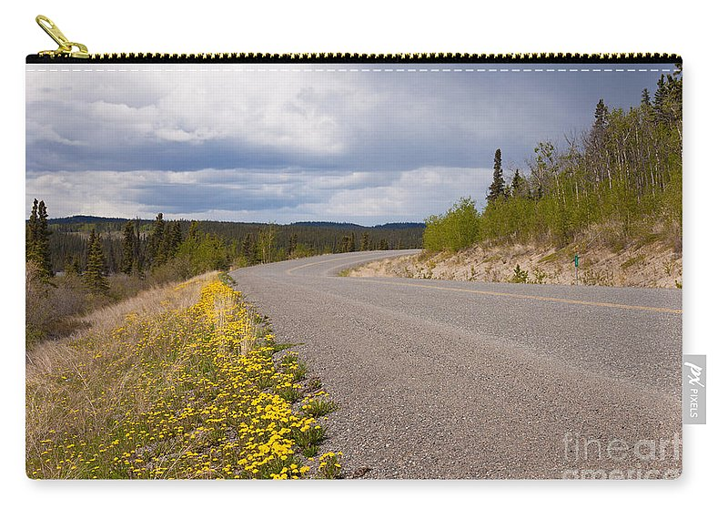 Adventure Carry-all Pouch featuring the photograph Deserted Rural Highway Yukon Territory Canada by Stephan Pietzko