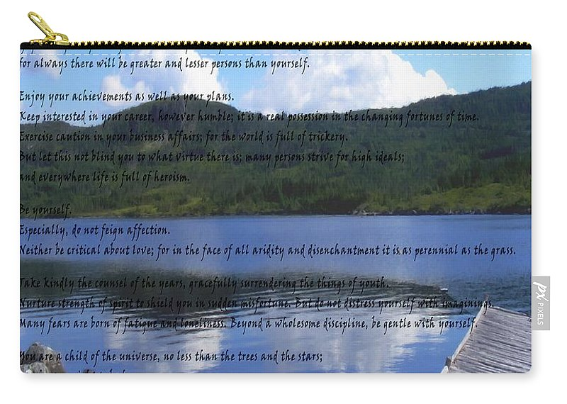 Desiderata Carry-all Pouch featuring the photograph Desiderata On Pond Scene With Mountains by Barbara Griffin
