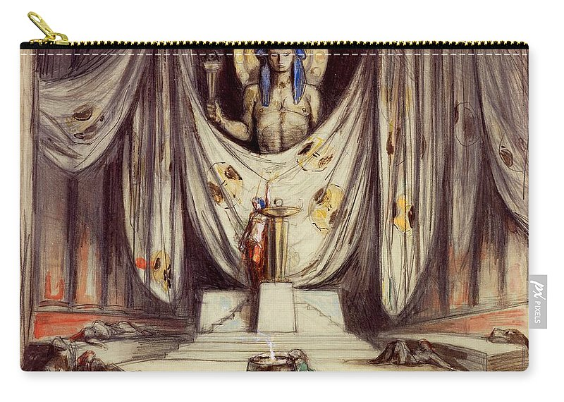 Theatre Carry-all Pouch featuring the drawing Design For Aeschylus The Eumenides by Charles Ricketts
