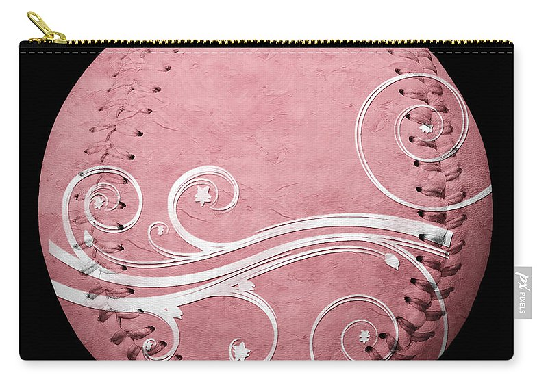 Baseball Carry-all Pouch featuring the mixed media Designer Pink Baseball Square by Andee Design