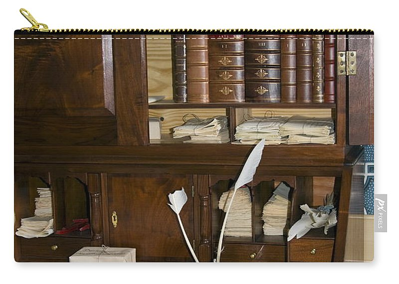 Colonial Desk Carry-all Pouch featuring the photograph Desk With Quill Pens by Sally Weigand